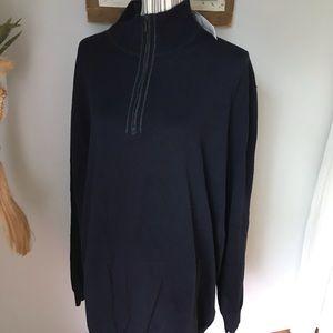 Men merino wool Claiborne sweater NAVY blue 2XLT